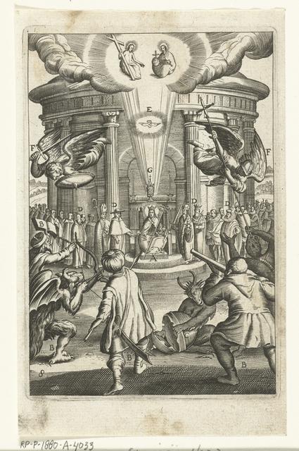 Embleem met de christelijke kerk die beschermd wordt tegen aanvallen van goddelozen zoals duivels