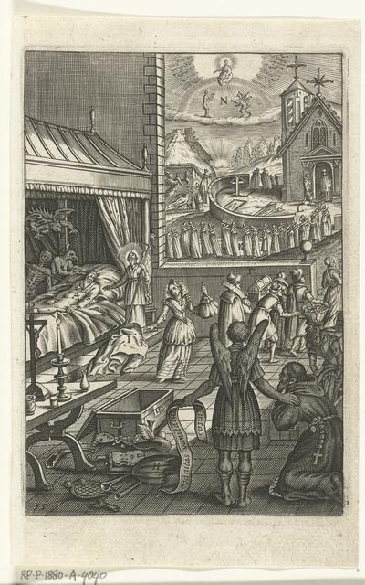Embleem met engel die geestelijke toont dat de duivel na de dood van een zondaar de ziel komt halen