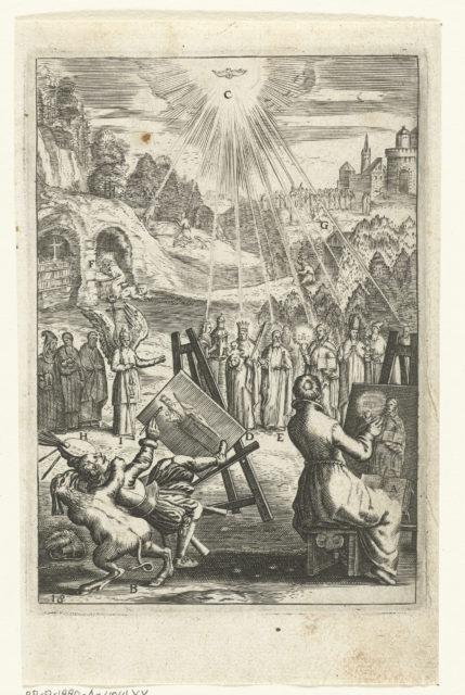 Embleem met mannen die portretten schilderen van heiligen om zo hun voorbeeld te volgen