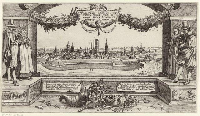 Titelprent van serie gezichten in en om de stad Dantzig, met kostuum links en rechts