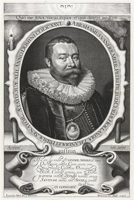 Portret van raadsheer Abraham van der Meer op 42-jarige leeftijd met portret miniatuur van zijn vrouw Maria van den Corput op 23-jarige leeftijd