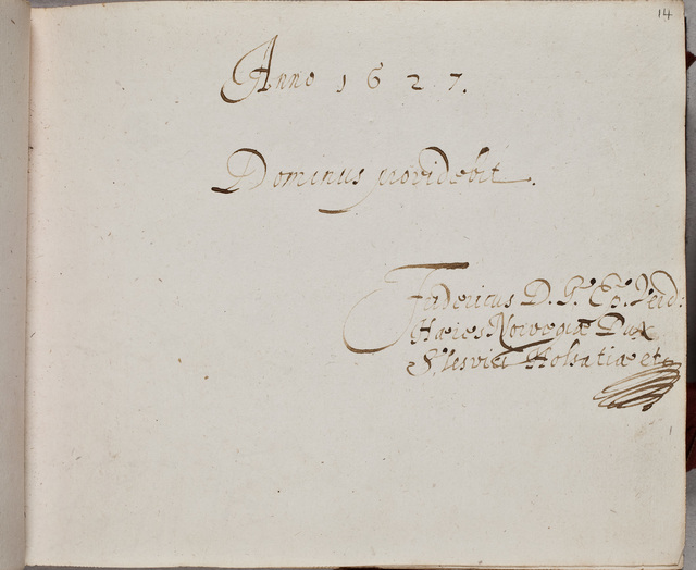 Albuminscriptie / van Friedrich zu Norburg, herzog von Schleswig-Holstein (1581-1658) voor Juw van Harinxma thoe Slooten (1607-)