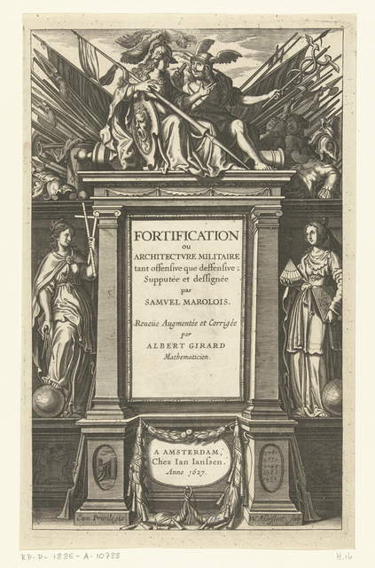 Titelpagina voor Fortification ou architectvre militaire van Samuel Marolois