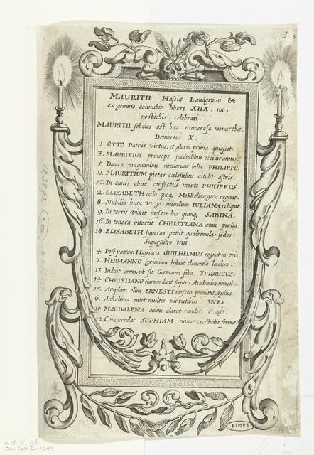 Epitaafvormige cartouche met familiegeschiedenis van Maurits
