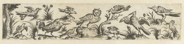 Fries met elf vogels, aan het linker uiteinde staat een boom