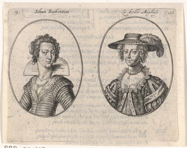 Portretten van twee courtisanes
