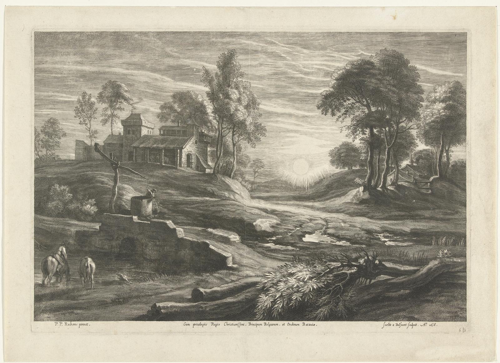 Landschap met waterput en zon