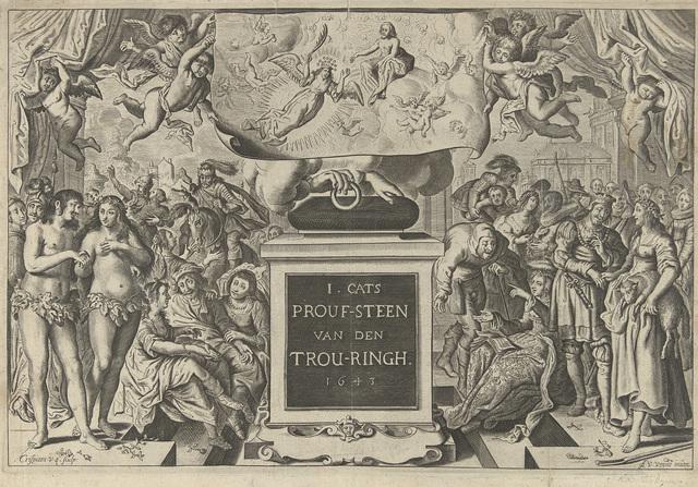 Titelpagina voor 's Werelts begin, midden, eynde besloten in den trov-ringh van Jacob Cats, 1643