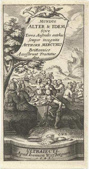 Zingend echtpaar aan tafel bij gezelschap dat eet en drinkt in overvloed in landschap