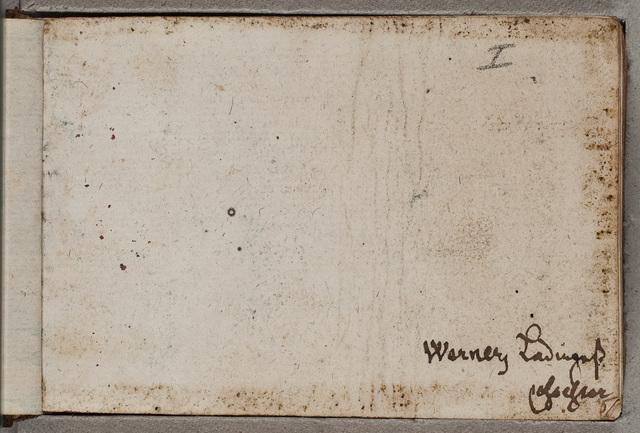 Eigendomsinscriptie in zijn album amicorum / door Werner Ladinges (ca. 1623-), student medicijnen uit Bremen