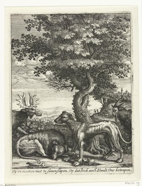 Landschap met een geit, een eland en twee honden