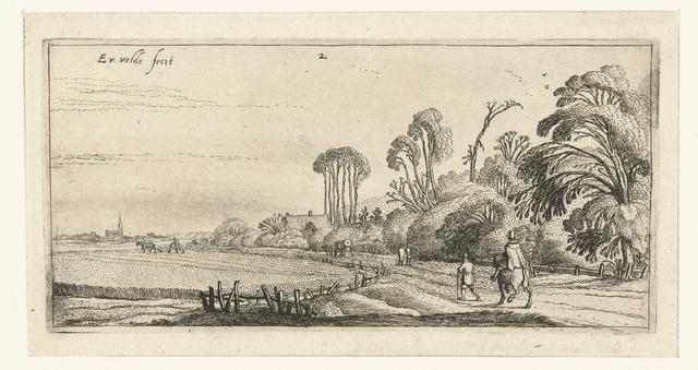 Landschap met een ruiter en een wandelaar op een weg bij Hillegom