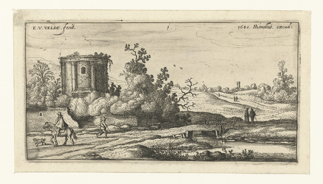 Landschap met ruïne van een romeinse tempel