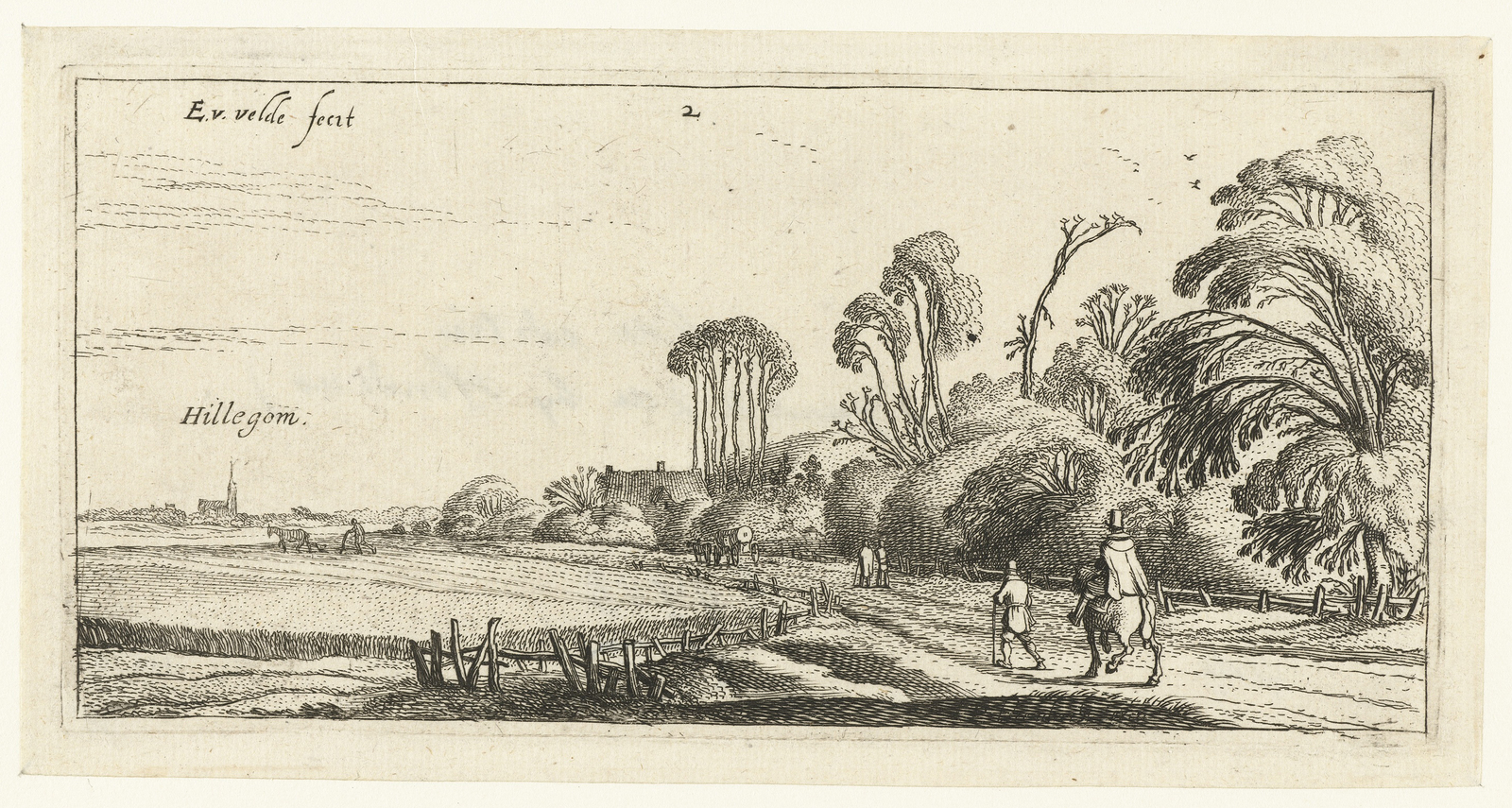 Landschap met ruiter en wandelaar op een weg bij Hillegom