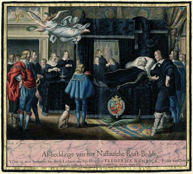 Af-beeldinge van het Nassausche Rust-Bedde, Waer op wert verthoont het doode Lichaem van Sijn Hoogheyt Frederick Henrick, Prince van Oranjen, Grave van Nassau, &c. Over-leden in 'sGraven-hage, den 14. Maert, 1647