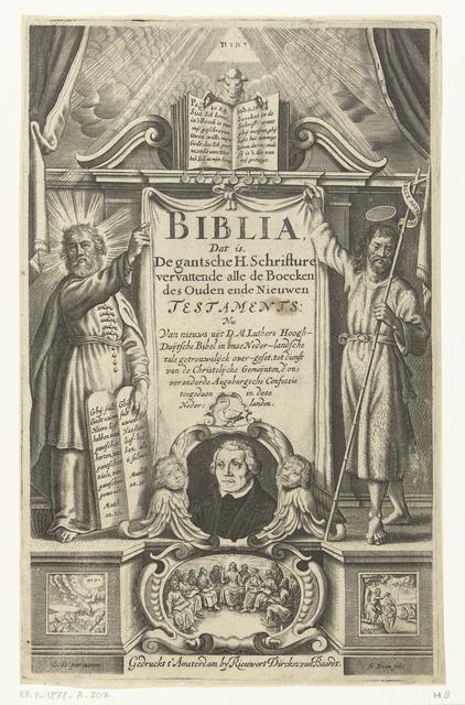 Portret van Maarten Luther en bijbelse scènes