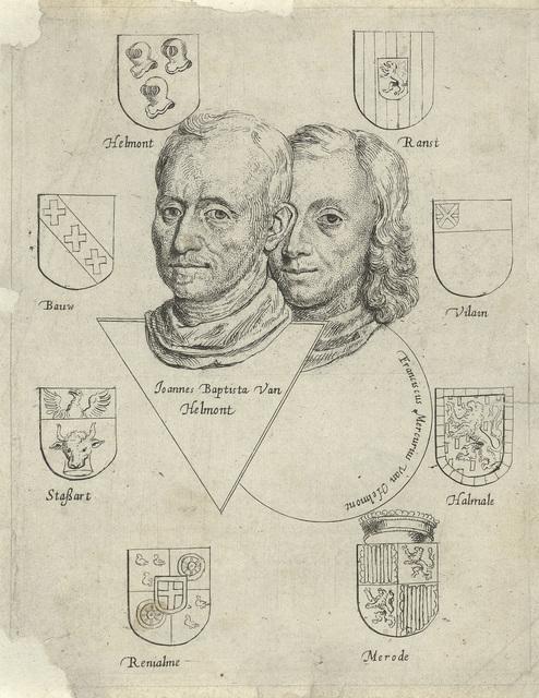 Portretten van Joannes Baptista van Helmont en Franciscus Mercurius van Helmont met acht wapenschilden