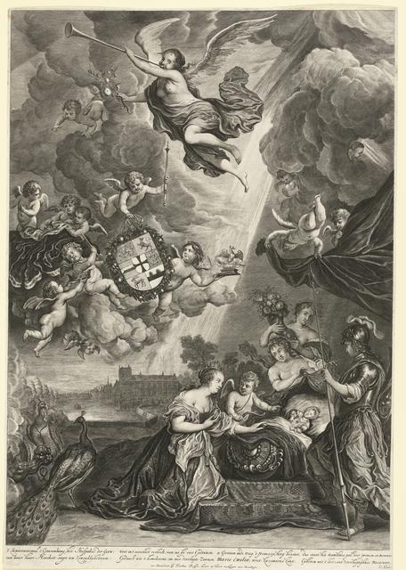 Allegorie op de geboorte van prinses Maria Amalia, dochter van Hendrik Casimir, 1689