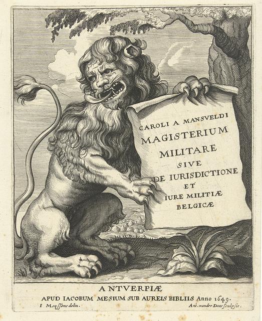Zittende leeuw met blad papier met titel in zijn klauwen