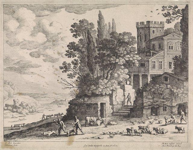 Landschap met een huis, figuren en vee