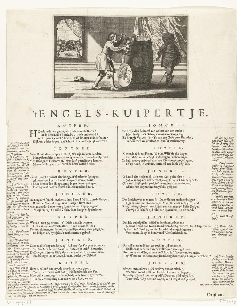 Spotprent op de Hollandse kuiperijen tegen de Engelsen, 1652