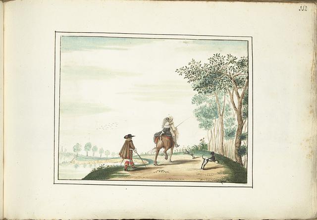 Heer en dame te paard en een voetganger in een landschap