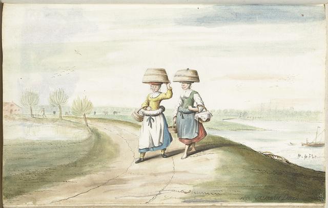 Twee boerenvrouwen lopend in een landschap
