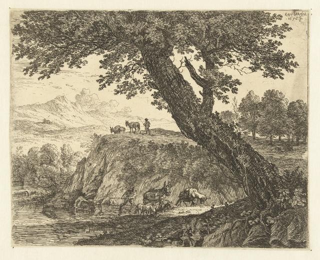 Landschap met twee muilezeldrijvers