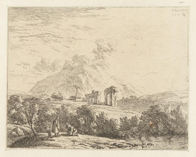 Landschap met ruïne en twee mannen met een hond