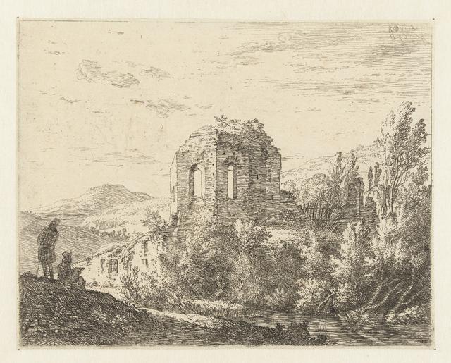 Landschap met ruïne van een tempel en twee tekenaars