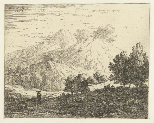 Landschap met vier bergen
