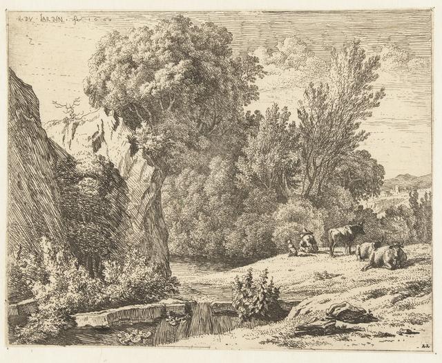 Landschap met herder en drie koeien