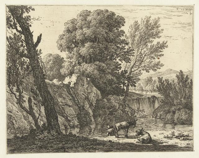 Landschap met man en twee ezels