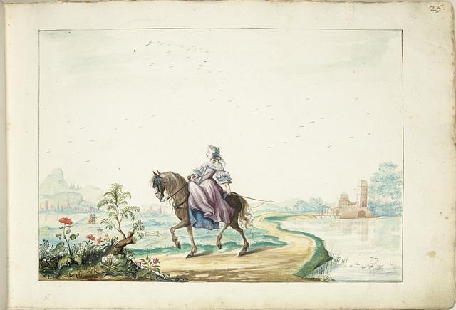 Vrouw te paard in een landschap