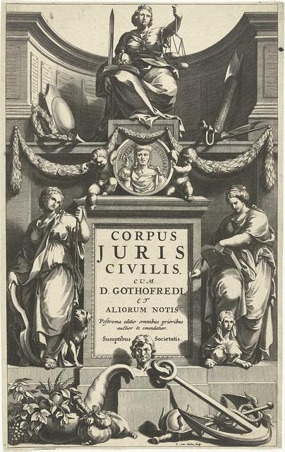 Rechtvaardigheid troont boven portret van Justinianus op sokkel met titel geflankeerd door Matigheid en Voorzichtigheid