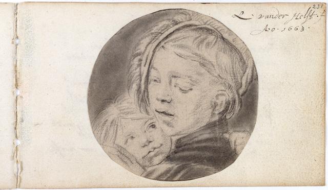 Tekening / van Lodewijk van der Helst (1642-ca. 1684), schilder, voor het album amicorum van Jacob Heyblocq (1623-1690), rector van de Latijnse school te Amsterdam