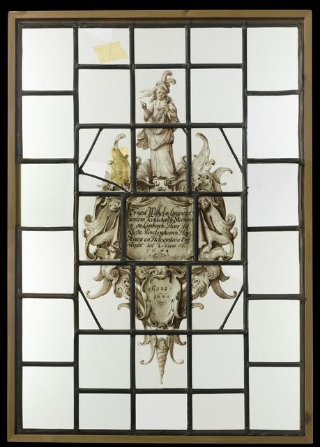 """Ruit met cartouche in kwabstijl met wapen en tekst """"Ernest Wilhelm Grave tot Bentem Tecklaborch Steenvoorden en Limborch, Heer tot Rheda... 1664"""""""