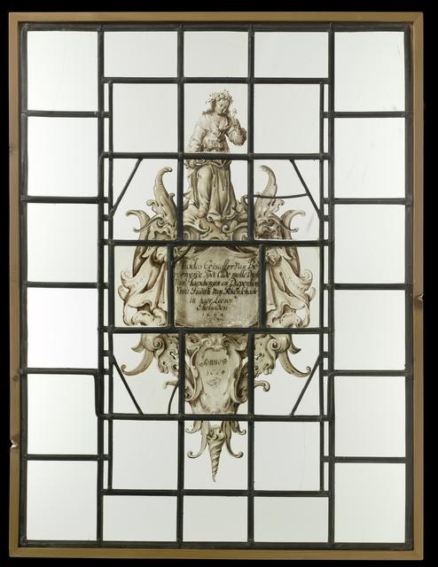 """Ruit met in cartouche in kwabstijl een wapen met opschrift """"Nicklas Cristoffer van Bevervoerde........Drost van Haexbergen en Diepenhem 1664"""""""