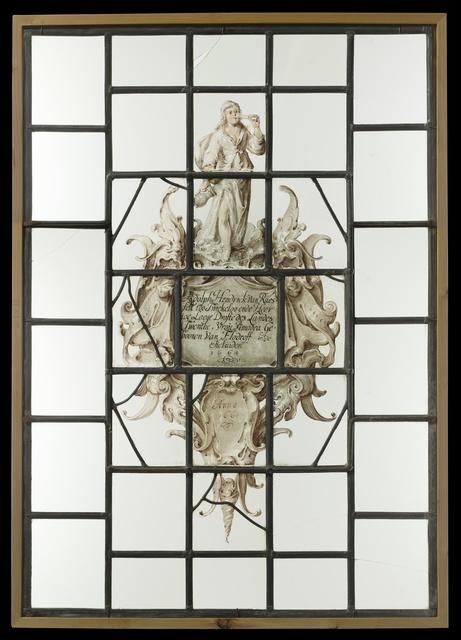 """Ruit met in cartouche in kwabstijl wapen met tekst  """"Adolph Hendrick van Raesfelt too Twickeloo ende Heer Toe Laege...1664"""""""