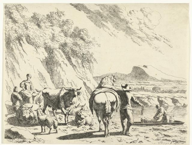 Man met paard en herderin op ezel met vee in heuvelachtig landschap