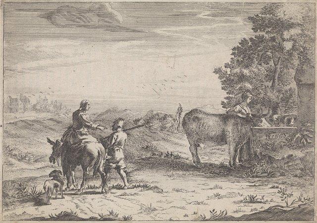 Landschap met vrouw die een koe drenkt