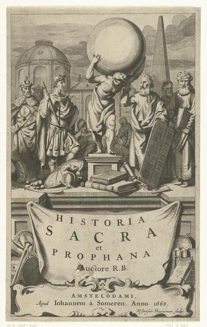 Bijbelse, mythologische en historische figuren met hun attributen staan op voetstuk met titel