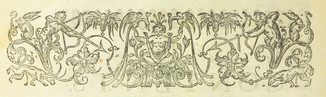 """Printer's ornament from """"[The Works of Mr Abraham Cowley. Consisting of those which were formerly printed: and those which he design'd for the press, now published out of the authors original copies. [Edited, with an account of the life and writings of Cowley, by Thomas Sprat, Bishop of Rochester. With a portrait by W. Faithorne.]]"""""""