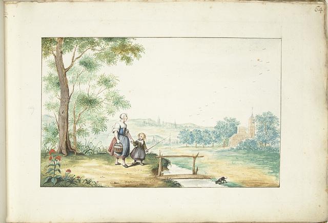 Boerenvrouw en kind in een landschap