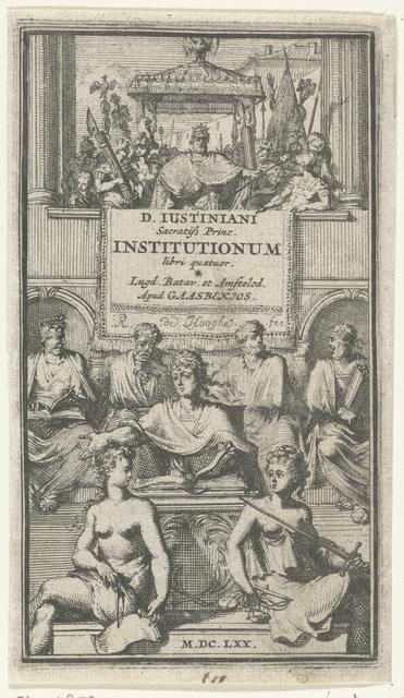 Titelprent voor 'Institutionum libri quatuor' van Justinianus