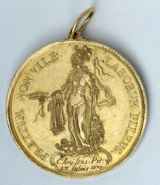 Penning, verleend aan Christaan Pit door de Stad Leiden ter gelegenheid van de verdediging van zijn dissertatie aan de Universiteit van Leiden op 28 november 1674 (zogenaamde promotie met de kap)