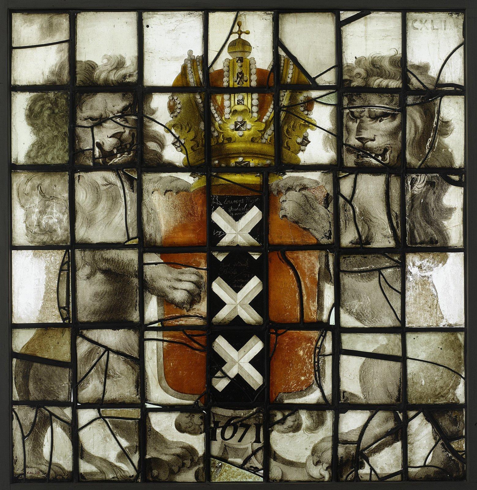Ruit met wapen Amsterdam en datum 1671