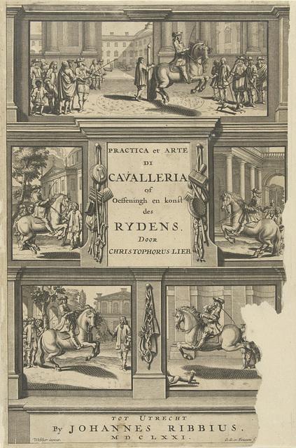 Titelprent voor practica et arte di cavalleria of oeffeningh en konst des rydens, 1671