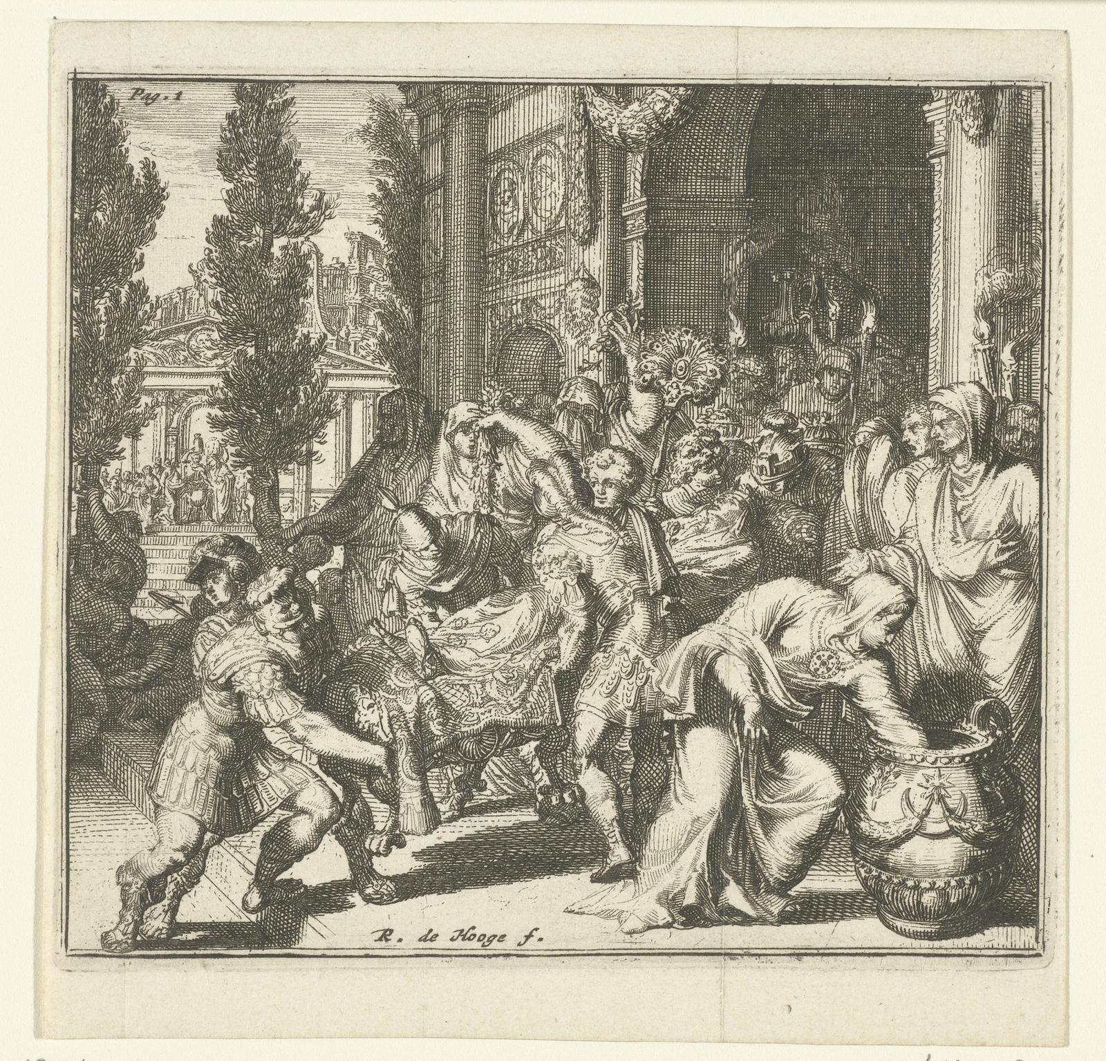 Een overleden vorst wordt op een draagbaar een Romeins gebouw in- of uitgedragen.
