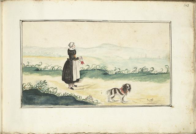 Boerenvrouw en hond in een landschap